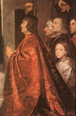 Madonna with Saints and Members of the Pesaro Family detail1