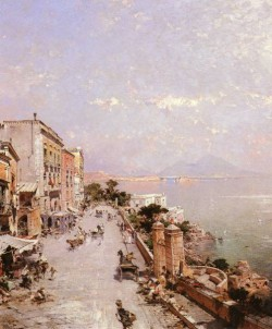 Belgian 1838 1902 A View Of Posilippo Naples OC 825by70