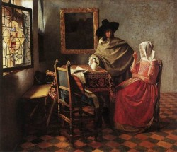 Vermeer A Lady Drinking and a Gentleman
