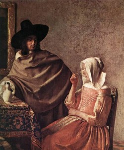 Vermeer A Lady Drinking and a Gentleman detail1