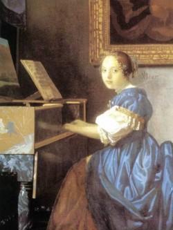 Vermeer Lady Seated at a Virginal detail1