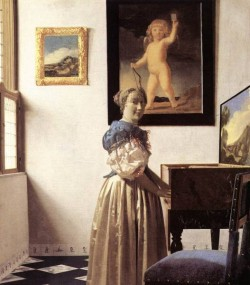 Vermeer Lady Standing at a Virginal