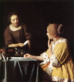 Vermeer Lady with Her Maidservant Holding a Letter
