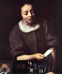 Vermeer Lady with Her Maidservant Holding a Letter detail2