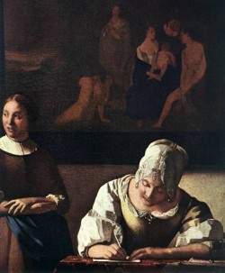 Vermeer Lady Writing a Letter with Her Maid detail1