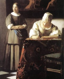 Vermeer Lady Writing a Letter with Her Maid detail2