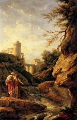 Two Female Peasants By A Waterfall