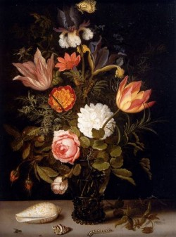 Still Life Of Roses Tulips Irises An African Marigold And Other Flowers In A Roemer Resting On A Ledge