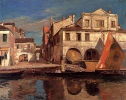Kanalszene In Chioggia Mit Bragozzo