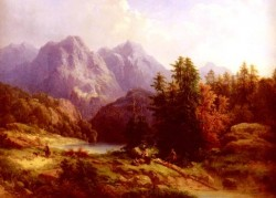 Woodsman And Family In An Alpine Landscape