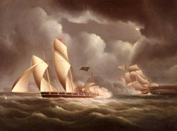 Buttersworth Edward A British Frigate attacking A Pirate Lugger At Night