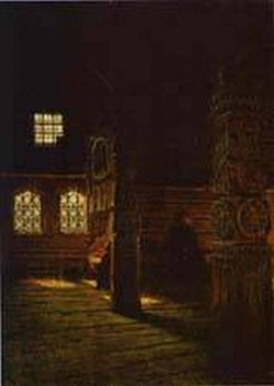 Interior of the wooden church of st peter and st paul in puchug study 1894 xx the russian museum st petersburg russia