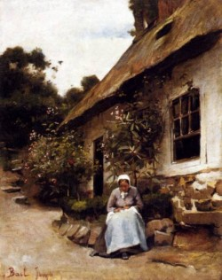 Woman Sewing In Front Of Her Cottage