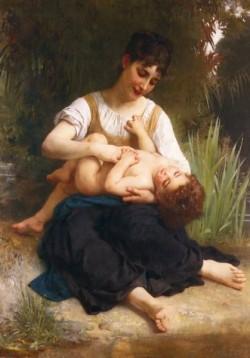 Adolphe Juene Fille Et Enfant Mi Corps