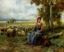 Shepherdess Watching Over Her flock