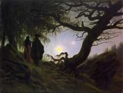 Man and woman contemplating the moon CDF
