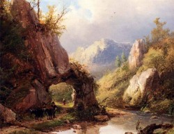 A Mountain Valley With A Peasant And Cattle Passing Along A Stream