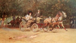 Mrs Sachers Carriage In The Hauptallee Of The Prater Vienna