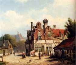 Houses Along A Village Street In Summer