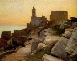 Mediterranean Village At Sunset