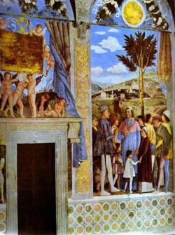 marquess ludovico greeting his son cardinal francesco gonzaga detail 2 1465 74 XX fresco palazzo ducale camera degli sposi brida