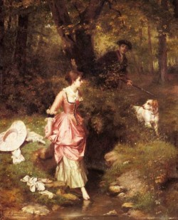A young Beauty Crossing A Brook With A Hunter Beyond