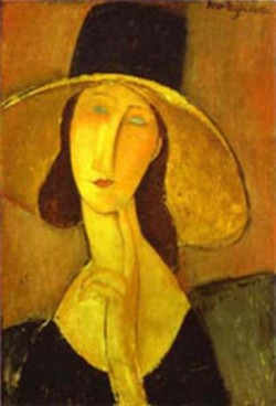 portrait of woman in hat jeanne hebuterne in large hat 1917 XX private collection
