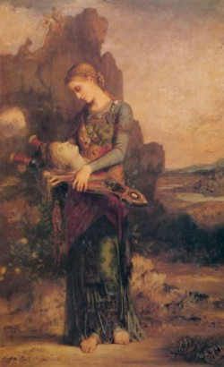 Thracian girl carrying the head of Orpheus on his lyre 1865
