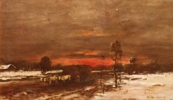 A Winter Landscape At Sunset