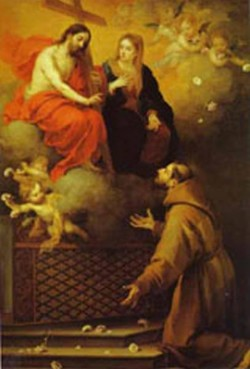 the vision to st francis at porziuncola 1667 XX museo del prado madrid spain