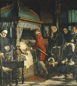 Carl Heinrich Bloch Chancellor Niels Kaas hand over the keys to Christian IV
