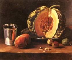 Still Life With A Pumpkin Peaches And A Si
