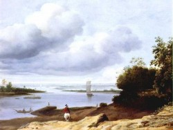 Extensive River View With A Horseman