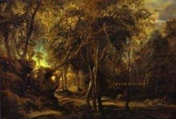 a forest at dawn with a deer hunt 1635 XX new york usa