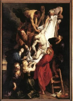 Rubens Descent from the Cross detail centre panel