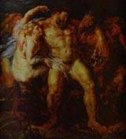 hercules drunk being led away by a nymph and a satyr 1611 XX dresden germany