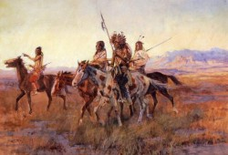 Four Mounted Indians Charles Marion Russell circa 1914