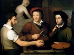 Schadow Wilhelm Von Self Portrait With Brother Rudolph And Bertel Thorvaldsen