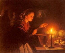 A Market Scene By Candlelight
