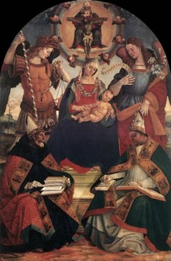 The Trinity The Virgin And Two saints