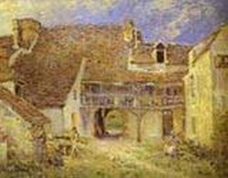 courtyard of farm at st mammes 1884 XX musee dorsay paris france