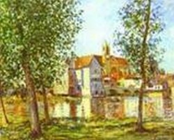 moret sur loing in morning sun 1888