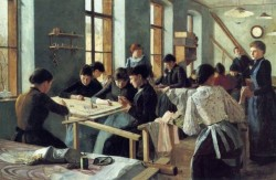Ladies Embroidering in a Workshop