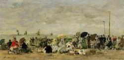 Beach Scene Deauville 1874