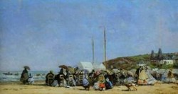 Trouville Beach Scene 1864