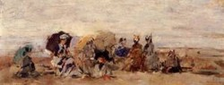 Trouville Beach Scene 1874