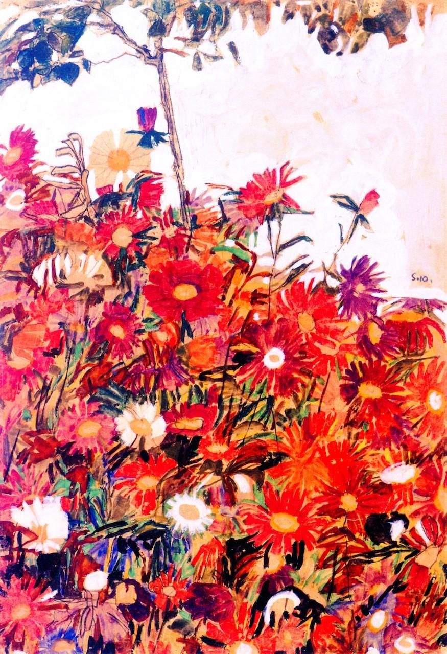 Field Of Flowers 1910 By Schiele