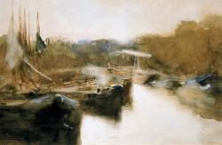 Moored ships in city canal, George Hendrik Breitner