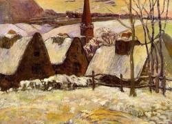 Breton village in snow 1894 musee dorsay paris france