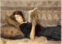 Reading girl on a sofa, 1920, Isaac Israels